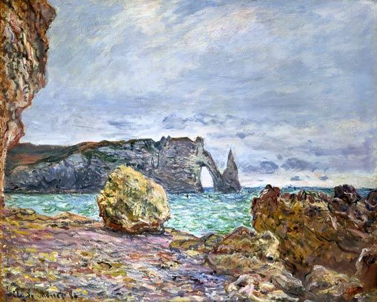 Claude Monet, Etretat, plage et falaise d'Aval, 1884