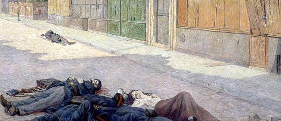 Une rue à Paris en mai 1871. Peinture à l'huile (1905) de Maximilien Luce. Musée d'Orsay, Paris.