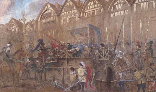 Devant l'hôtel des Tournelles, le tournoi fatal à Henri II