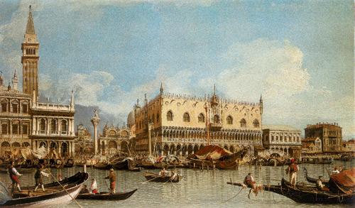 Canaletto (1697 - 1768) : Vue du Palais ducale à Venise.