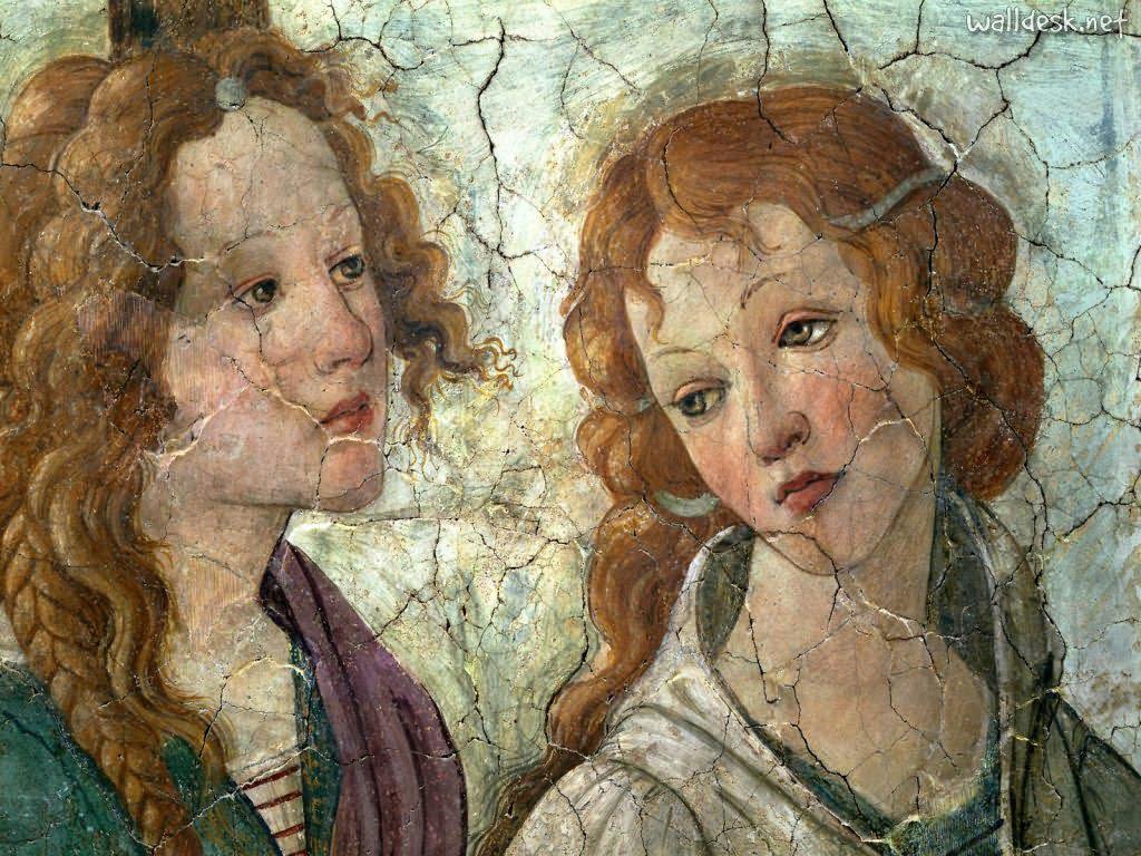 """Jeunes femmes dans """"Vénus et les Trois Grâces"""" de Boticelli (1444 - 1510)"""