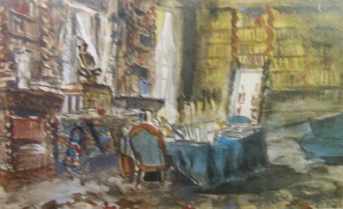 Le bureau de Gustave Flaubert à Croisset, près de Rouen. Aquarelle de Georges Rochegrosse.
