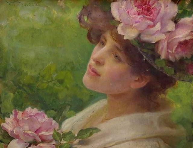 Franz Dvorak, peintre autrichien d'origine hongroise (1862 - 1927) : Femme aux pivoines