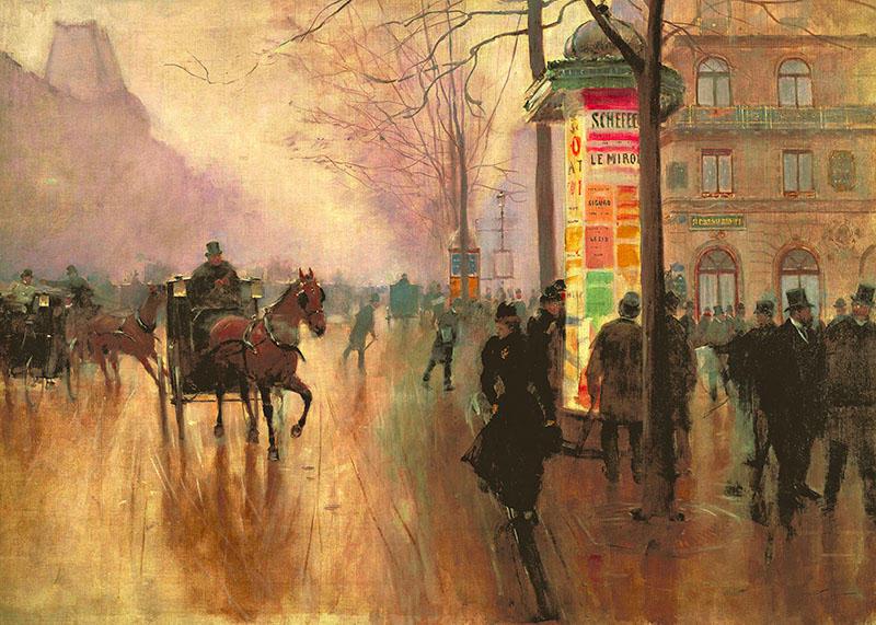 """""""Voitures sur le boulevard des Italiens"""". Jean Béraud, 1890"""