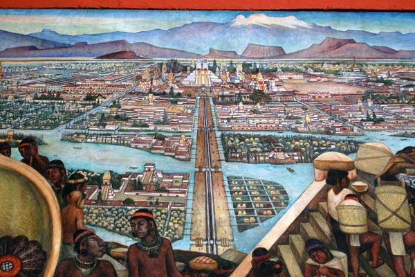 Mexico - Tenochtitlan. Fresque murale de Diego Rivera (1886 - 1957)