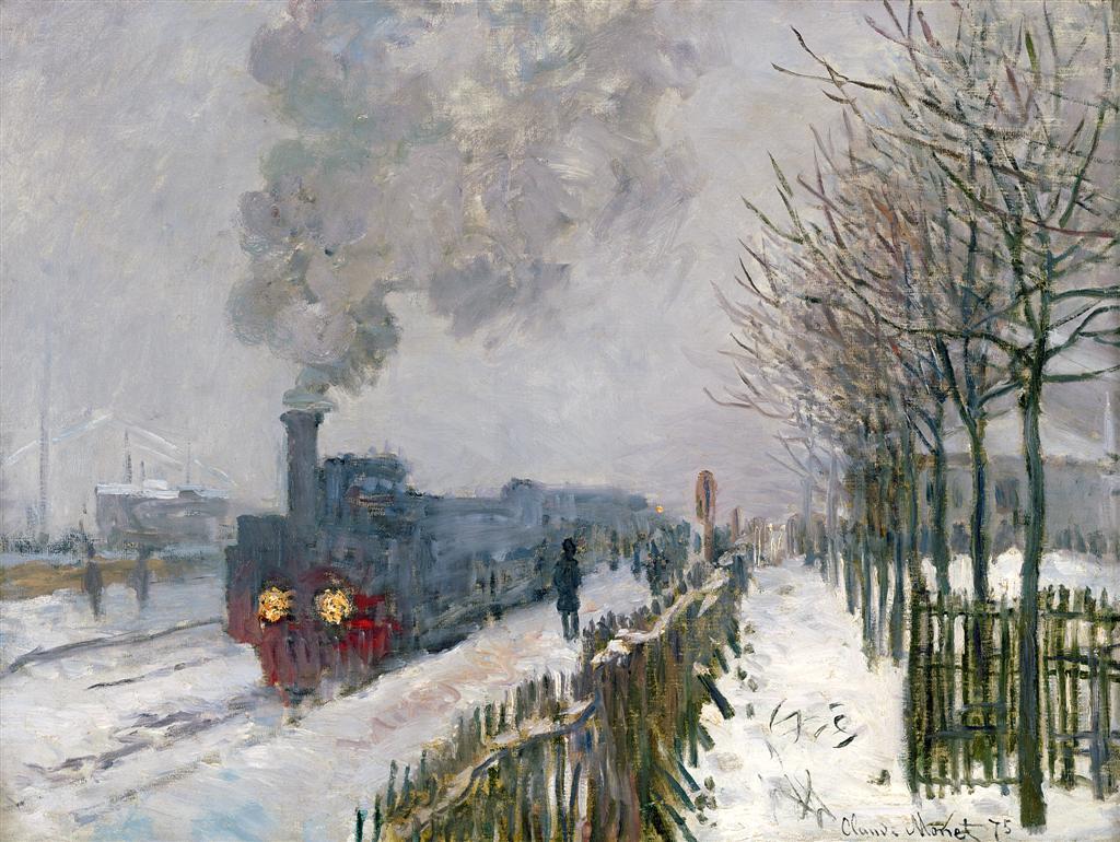 """""""Train dans la neige"""". Claude Monet (1840 - 1926). Musée Marmottan, Paris"""