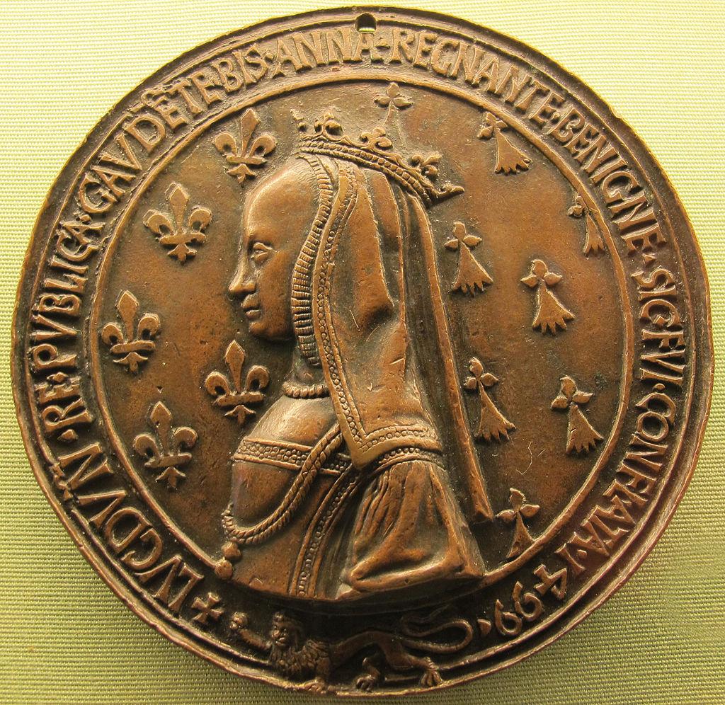Anne de Bretagne (médaille réalisée pour son séjour à Lyon en 1499)